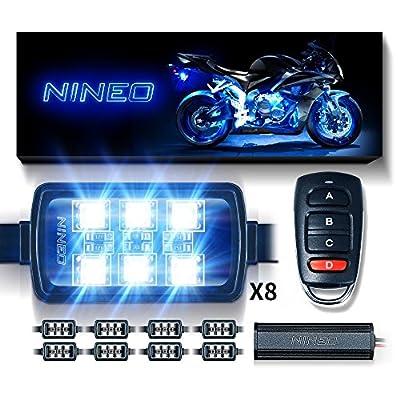 NINEO RGB LED Strip Lights Kit Multi-Color Neon w/Remote Controller for ATV UTV Cruiser Harley Davidson Ducati Suzuki Honda Triumph BMW Kawasaki Yamaha (Pack of 8)