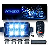 NINEO Motorcycle RGB LED Strip Lights Kit Multi-Color Neon w/Remote Controller for ATV UTV Cruiser Harley Davidson Ducati Suzuki Honda Triumph BMW Kawasaki Yamaha (Pack of 8)