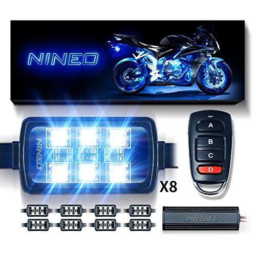 NINEO Motorcycle RGB LED Strip Lights Kit Multi-Color Neon w/Remote Controller for ATV UTV Cruiser Harley Davidson Ducati Suzuki Honda Triumph BMW Kawasaki Yamaha (Pack of 8) ()