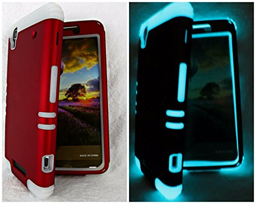 Boost ZTE MAX N9520 Red With Glow Shock Resistant Case Cover Hybrid (Boost Mobile N9520 Phone Case)