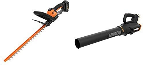 WORX WG261 20V Power Share 22-inch Cordless Hedge Trimmer, Battery and Charger Included with Power Share Cordless Turbine Blower, 2-Speed, Bare Tool Only