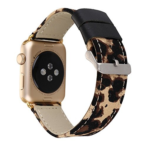 MagicFeel Fashion Classic Brown Cheetah Leopard Leather Canvas Watch Band Wrist Strap Compatible for Apple Watch Series 3 Series 2, Series 1, Sport, Edition(Leopard)