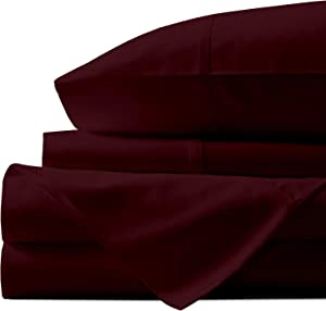 Natural Egyptian Cotton Sheets King-Size - 1000 Thread Count Sateen Weave, Luxurious 4 Piece Burgundy Sheet Set, 100% Long Staple Cotton Soft Bed Sheets, 16 Inch Elasticized Deep Pocket