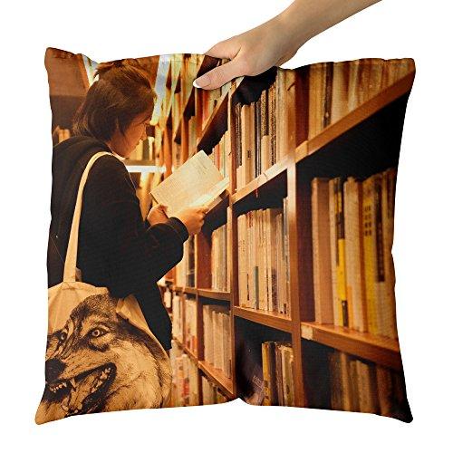 Westlake Art - Girl Bookshop - Decorative Throw Pillow Cushion - Picture Photography Artwork Home Decor Living Room - 18x18 Inch (8DE2D)