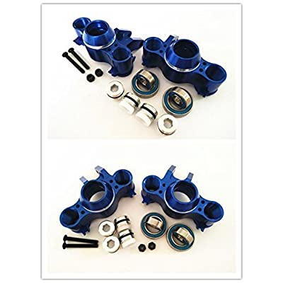 CrazyRacer Front and Rear Aluminum Steering Block Knuckle Arm with Rubber Shielded Bearings -4PCS Set Blue for Traxxas 1/10 Old E-REVO EREVO Summit E-MAXX T-MAXX3.3 Slayer Pro 4X4 5334R: Toys & Games