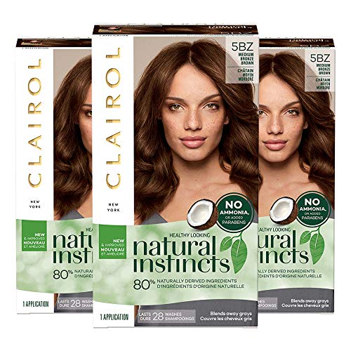 Clairol Natural Instincts, 5BZ Medium Bronze Brown, Hot Cocoa, 3 Count (Best Hair Color For Natural Brunettes)