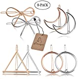 Womens Hair Clips,Aniwon 8Pcs Hollow Double Triangle Loop Barrettes Clamps Round Moon Bowknot Metal Hairpins Bobby Pin Styling Accessories for Girls and Women