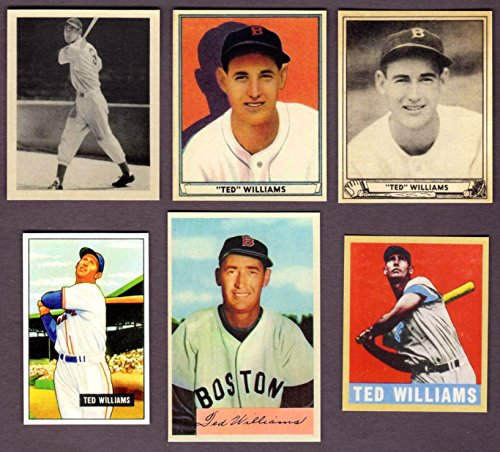 Ted Williams (6) Card Baseball Reprint Lot #2 including 1939 Play Ball Rookie Card (Boston Red Sox)