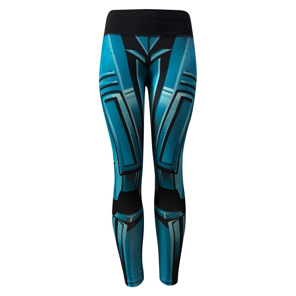 iLUGU Womens Fashion Workout Leggings Fitness Work Out Pants Sports Gym Running Yoga Athletic Yoga Junior Blue