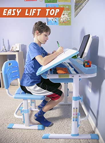 51yHInwn0nL - VIVO Height Adjustable Children's Desk and Chair Set, Grey