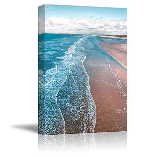 NWT Canvas Wall Art Pink Sand Beach Wave Ocean Painting Artwork for Home Prints Framed - 24x36 inches
