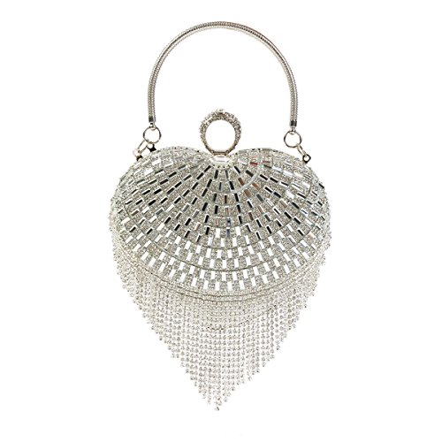 Shaped Tassel (Damara Womens Crystals Heart-shaped Tassels Rhinestones Handle Evening Bag,Silver)