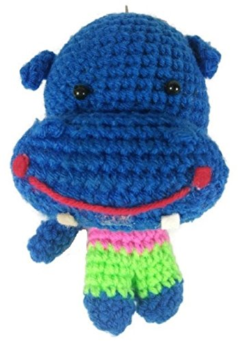 Chic Cute 2 in 1 Hand Knit Keychain Doll, Blue Hippo Hippopotamus