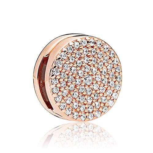 Romántico Amor Shining Pavé Sphere Charm Elegance Clip Spacers Stopper Silver Bead for Pandora Bracelets/Rose Gold