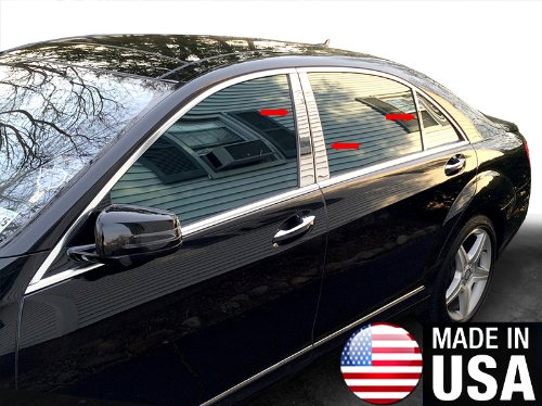 (Made in USA! Works with 2007-2013 Mercedes-Benz S Class/S400/S550 6PC Stainless Steel Chrome Pillar Post)