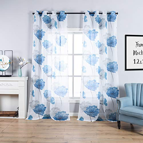 Blue Flower Print Curtains for Home Decoration Polyester Fabric Semi Sheer Curtains Set Boys Nursery Living Room Décor,Bedroom Window Drapes 2 Panel Set,Grommet Top Style,54 by 63-Inch (Polyester Panel Curtains Sheer)