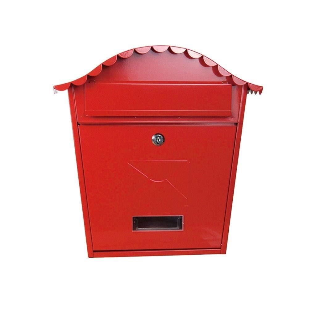 NSHUN ウォールマウントロック可能なメールボックス、農村家庭用装飾小包ボックスパッケージドロップスロットセキュアロック屋外メタル付きキー   B07SWTWLWS
