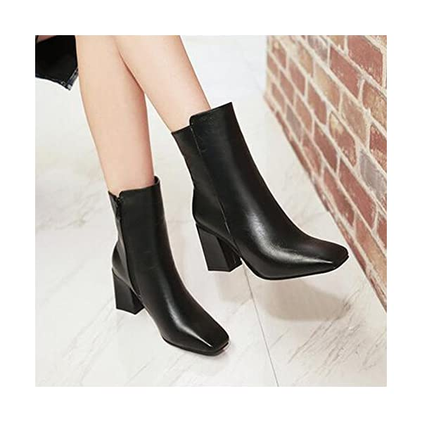 Mofri Women's Chic Burnished Square Toe Side Zipper Ankle Booties Chunky High Heel OL Work Shoes Short Boots