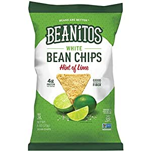 Beanitos Hint of Lime Bean Chips with Sea Salt, Plant Based Protein, Good Source Fiber, Gluten Free, Non-GMO, Vegan, Corn Free Tortilla Chip Snack, 6 Ounce (Pack of 6)