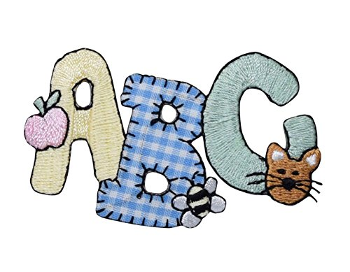 ABC - Gingham with Flower, Bee, and Cat - Iron On Embroidered Applique Patch