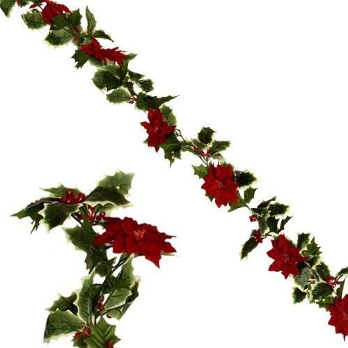 FloristryWarehouse Christmas garland decoration with red Poinsettias & Holly 6ft (Christmas Poinsettia Garland)