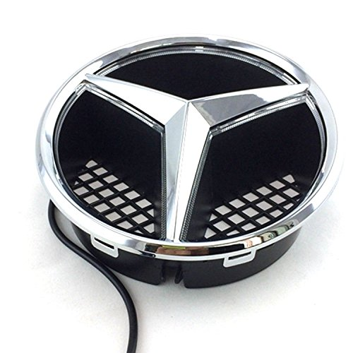 [Azisen Car Front Grille Star Emblem LED Logo for Mercedes Benz 2006-2013 Illuminated LED Badge Light White] (Mercedes C230 Accessories)
