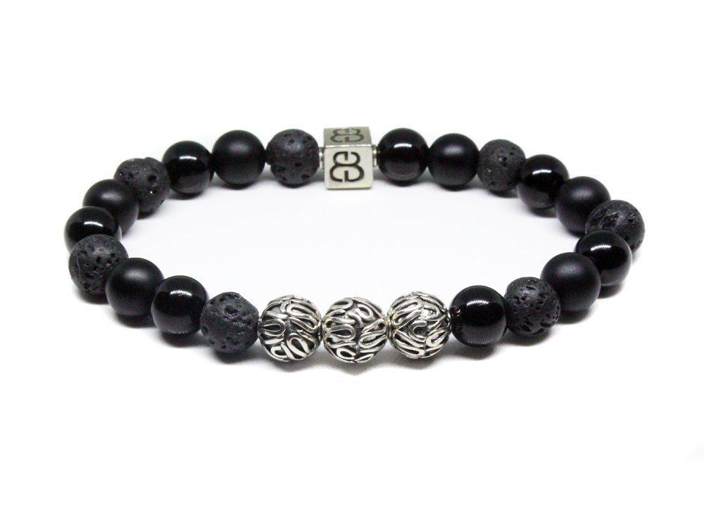 Crystal-Lava Stone Bracelet,Strength Bracelet,Gemstone Bracelet,Stretch Bracelet,925 Silver Bead Bracelet,Men/'s Bracelet,Black Bead Bracelet