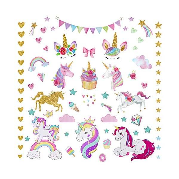 Unicorn Wall Decal, 3Sheets 2Styles 87pcs Unicorn Wall Stickers Wall Decals for Girls Room Kids Rooms Decor ... 3