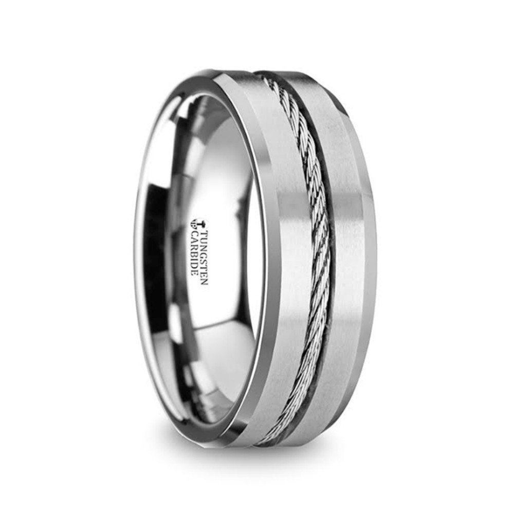 LANNISTER Men's Tungsten Flat Wedding Band Ring with Center Steel Wire Cable Inlay Beveled Edges 8mm Wide by Thorsten from Roy Rose Jewelry
