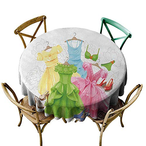 Homrkey Heels and Dresses Indoor and Outdoor Polyester Tablecloth Princess Outfits Bikini Shoes Wardrobe Party Costumes in Girls Design Excellent Durability Multicolor (Round - 55