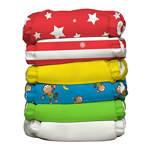 Charlie Banana 6 Piece Diapers with 12 Inserts Hybrid AIO, Circus by Charlie Banana