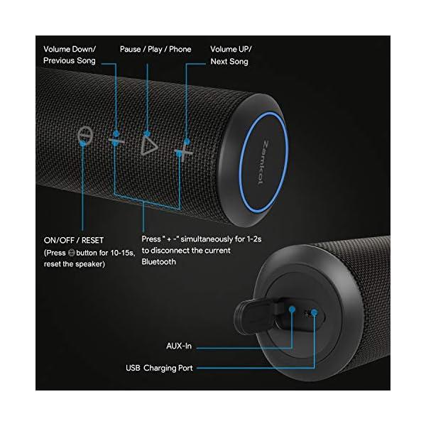 Zamkol Enceinte Bluetooth Portable, Waterproof Haut-Parleur Bluetooth Enceinte d'extérieur sans Fil 24W, 360° HD Bass Pilote Double, Bluetooth 4.2, étanche IPX6, Mains Libres et Technologie TWS 4