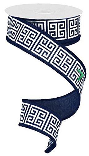 Greek Key Pattern - 1.5 inch X 10 yard Greek Keys Navy Blue White wired ribbon