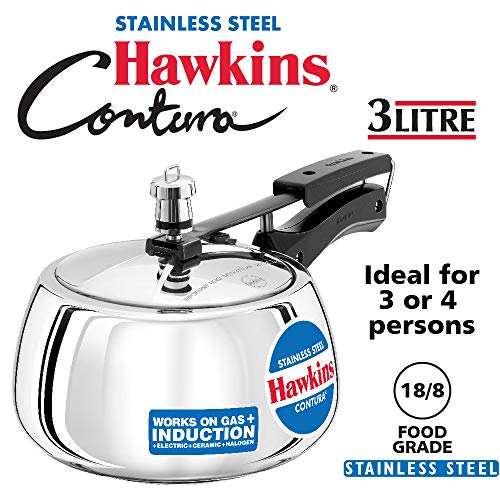HAWKINS STAINLESS STEEL CONTURA PRESSURE COOKER 3 LITRES Price & Reviews