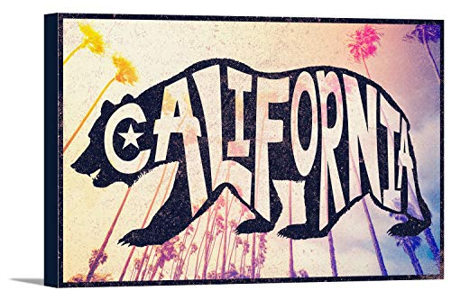 - California - Bear Typography (18x12 Gallery Wrapped Stretched Canvas)