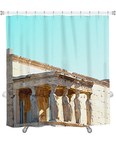 Gear New Old Tower & Marble Brick in Europe Athens Acropolis & Sky Shower Curtain, 74