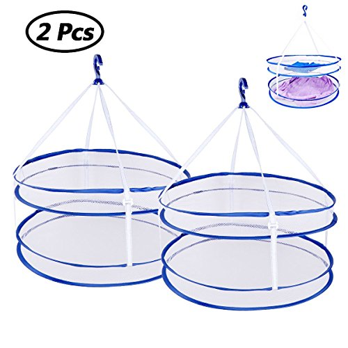 CHICTRY 2 Pack Mesh Hanging Drying Rack Double-layer Clothes