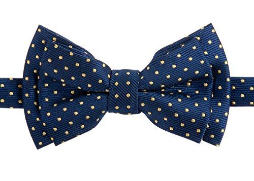 - Retreez Modern Mini Polka Dots Woven Microfiber Pre-tied Boy's Bow Tie - Navy Blue with Yellow Dots - 6-18 months