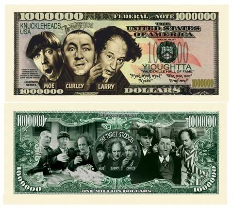 American Art Classics Limited Edition Three Stooges Million Dollar Novelty Bill - Best for Collecting, Full Color, Real Money Size. Makes A Great Gift.]()