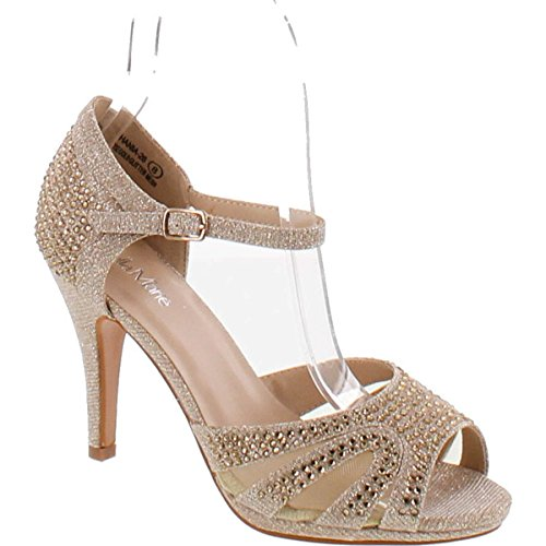Dance Strappy Sandals (Bella Marie Shania-26 Women's Peep Toe Rhinestone Glitter Strappy Mesh Dance Sandals,Rose,8)