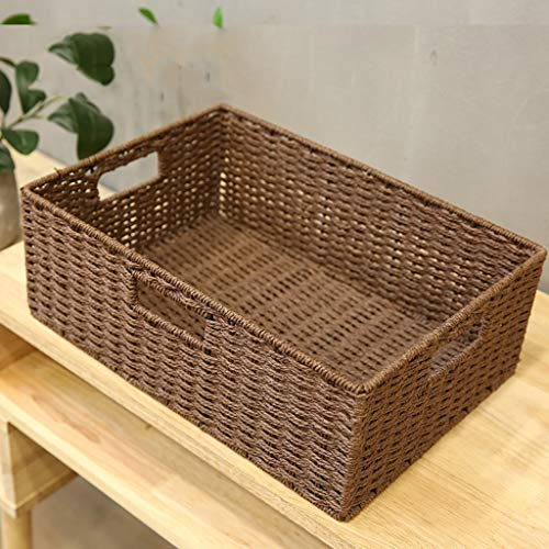 Hand-Woven Storage Basket, Breathable Mesh Hole to Prevent Moisture and Mildew, Used for Daily Storage YANGBM (Color : Brown, Size : M) ()