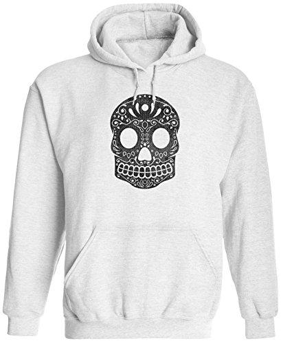 Unisex Mens Mexican Sugar Skull Pullover Hooded Sweatshirt (White, S) ()