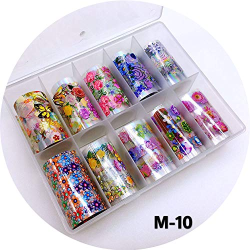 10 Rolls 4100CM Vintage Pattern Water 3d Nail Stickers Decals Starry Paper Fashion Leopard Nail Art Transfer Foil Set,M-10