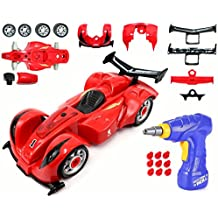 CoolToys Custom Take-A-Part Car Playset – Race Car with Electric Play Drill and Car Modification Pieces