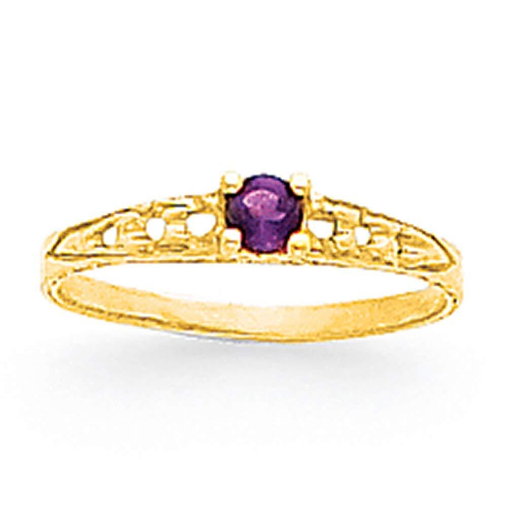 Lex /& Lu 14k Yellow Gold Madi K 3mm Amethyst Birthstone Baby Ring