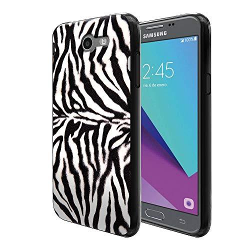 FINCIBO Case Compatible with Samsung Galaxy J3 Emerge J327 2017 2nd Gen, Flexible TPU Black Skin Protector Cover Case for Galaxy J3 Emerge (NOT FIT J3 2016, J3 PRO) - Zebra Stripes Skin Pattern