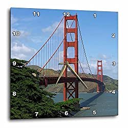 3dRose DPP_21694_1 Golden Gate Bridge San Francisco Wall Clock, 10 by 10-Inch