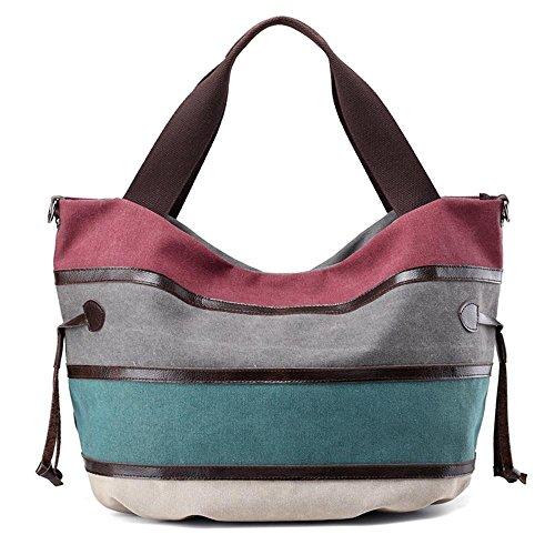 Bolso de la lona Color de las señoras del bolso del paquete de la manera Hombro Ocio Viaje Ocio Viaje Purple Coffee