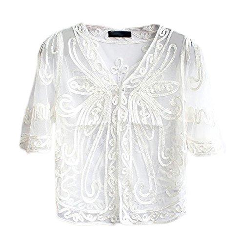 Coprispalle Top Elegante Unique White Manica Cerimonia Trasparente Sottile Da Bolero Donna Vintage Cocktail Cardigan Chic Corta Pizzo ZrqBOZ