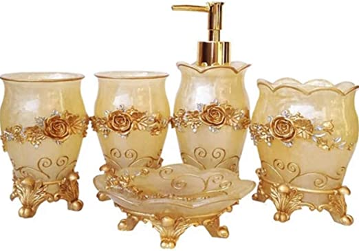 White Popular Bathroom Accessory Set Luxury Rose Ensemble,High Grade 5 Pieces Bathroom Accessory Set With Soap Dispenser,Toothbrush Holder,Tumbler,and Soap Dish,Retro Resin Bathroom Accessory Set